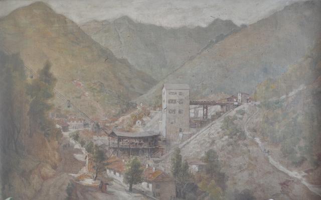 """Мина """"Бориева"""" през 1943. Картината се пази в кабинета на директора на Горубсо - Мадан"""